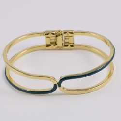 Bracelet design plaqué or laqué vert bouteille