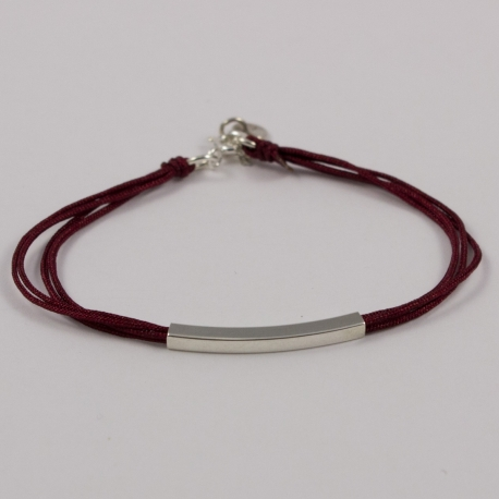 Bracelet cordons bordeaux et tube argent