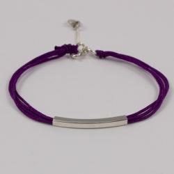 Bracelet lacet aubergine et baguette argent