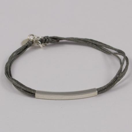Bracelet lien gris clair motif baguette argent