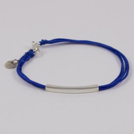 Bracelet tube argent et cordons bleu dur