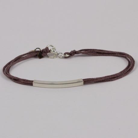Bracelet couleur vieux rose et tube argent