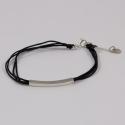 Bracelet cordon noir motif rectangle argent
