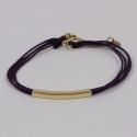Bracelet fils violine motif rectangle plaqué or