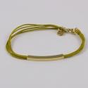 Bracelet coton moutarde et rectangle plaqué or