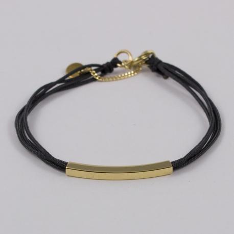 Bracelet fil gris motif tube plaqué or