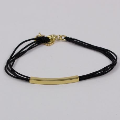 Bracelet cordon noir motif rectangle plaqué or