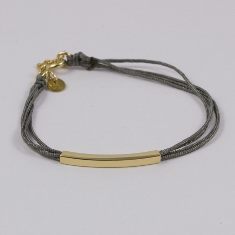 Bracelet lien gris clair motif baguette plaqué or