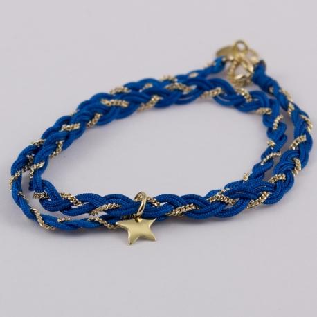 Bracelet tressé chaîne plaqué or et fils de soie turquoise