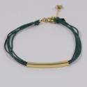 Bracelet baguette plaqué or et cordon coton vert