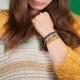 Bracelet tresse fils de soie gris clair et chaîne plaqué or