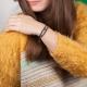 Bracelet etoile et chaîne plaqué or tressé avec des fils de soie gris
