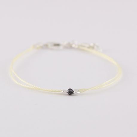 Bracelet solitaire diamant noir brut Black Star