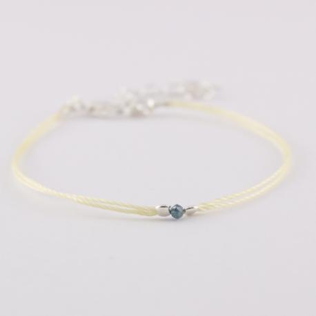 Bracelet solitaire diamant bleu brut Blue Star