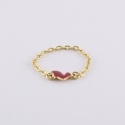 Bague chaine doree motif coeur émaillé rouge - Les Curiosités d'Elixir