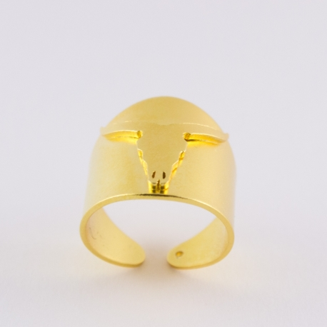 Bague animal dorée tête de buffle - Schade Jewellery