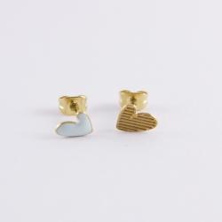 Puces d'oreilles Ptis coeurs dorée et émaillé blanc - Les Curiosités d'Elixir