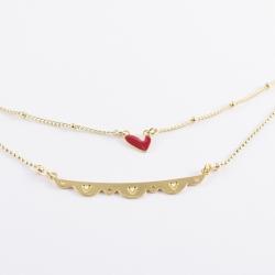 Collier double chaine dorée et coeurs - Les Curiosités d'Elixir