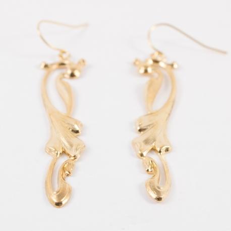 Boucle d'oreille art deco doré à l'or rose by Mélanie