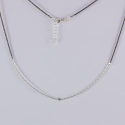 Collier ruban argent et diamant bleu