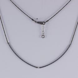 Collier barrette argent rhodié et diamant gris