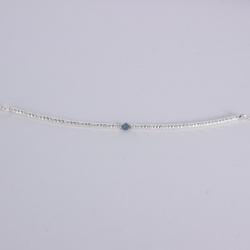 Bracelet tube argent et diamant bleu