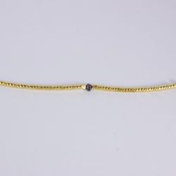 Bracelet bride plaqué or et diamant noir