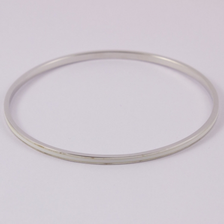 Bracelet bangle argent et émail blanc
