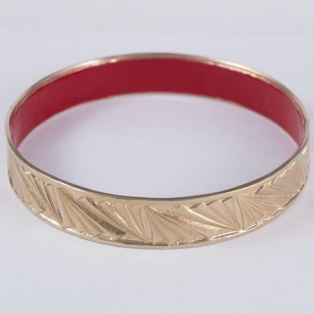 Bracelet plaqué or rose et résine rouge by Mélanie