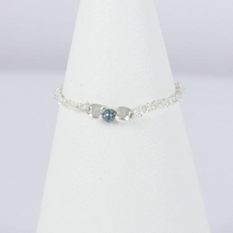 Diamant bleu annelet argent scintillant Frozen Blue Star