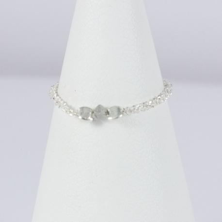 Bague boucle argent et diamant gris Frozen Gray Star