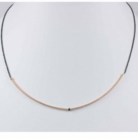 Collier tube plaqué or rose et diamant gris
