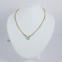 Collier turquoise coeur émaillé - Les Curiosités d'Elixir
