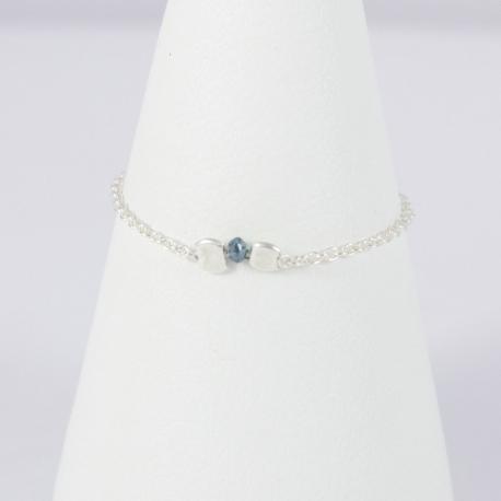 Bague chaine argent et diamant bleu Blue Star