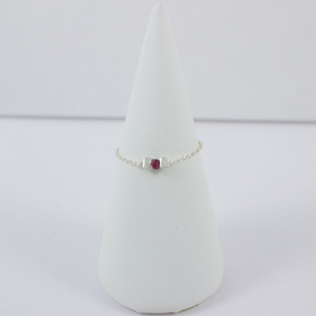 Bague solitaire rubis chaine argent Red Star