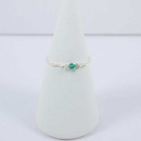 Bague boucle argent et émeraude Frozen  Green Star