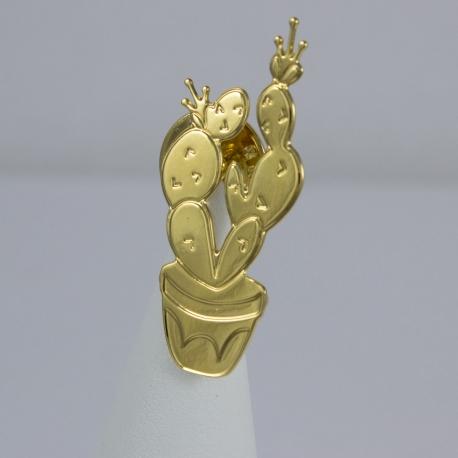 Broche cactus plaqué or - Les Curiosités d'Elixir