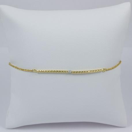 Bracelet ruban diamant gris et or jaune