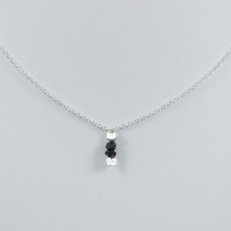 Collier chaine petit diamant noir brut - Drop Black Star