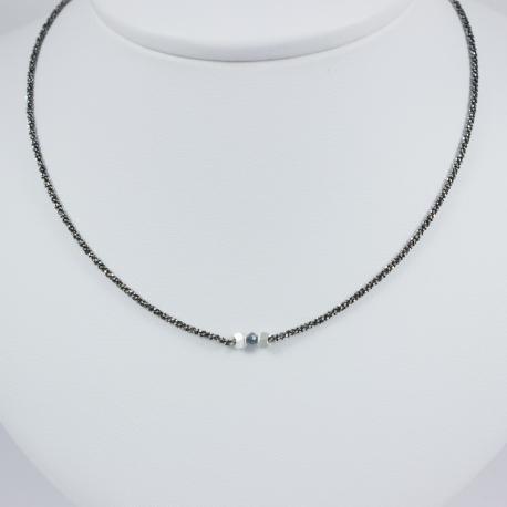 Collier solitaire chaine rhodiee diamant bleu brut Blue Star
