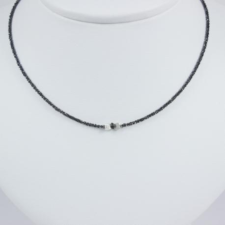 Collier solitaire chaine rhodiee mini diamant noir Black Star