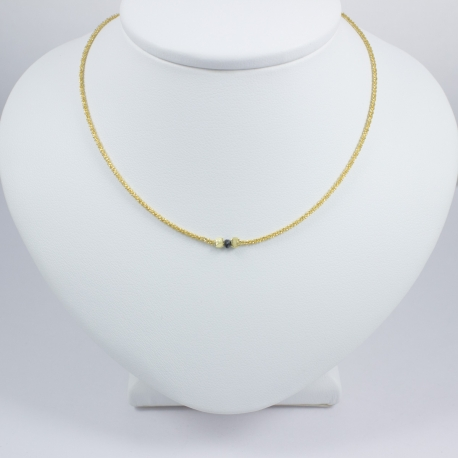 Collier diamant noir chaine brillante or jaune Sun Black Star
