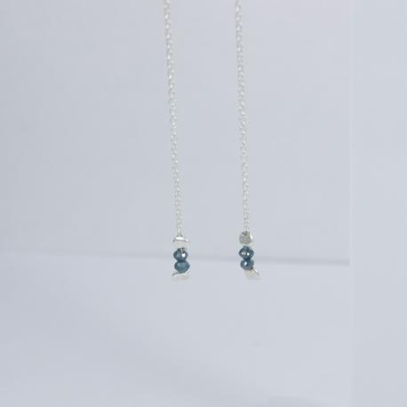 Boucles d'oreilles petit diamant bleu brut - Twins Blue Star