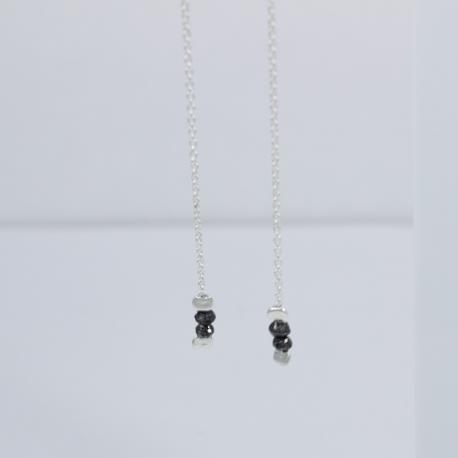 Boucles d'oreilles petit diamant noir brut - Twins Black Star