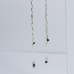 Boucles d'oreilles chaine venitienne diamant noir brut Tandem Black Star