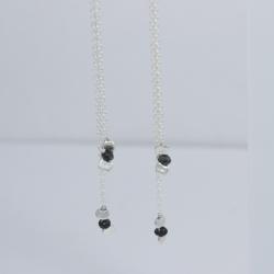 Boucles d'oreilles chaine forcat little diamant noir brut Tandem Black Star