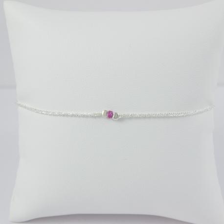 Bracelet Saphir rose argent Frozen Pink Star