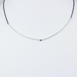 Collier tube argent et diamant noir
