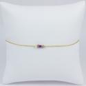 Bracelet doré or jaune saphirs rose et diamant noir