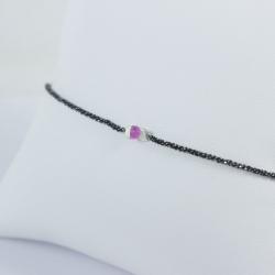 Bracelet saphir rose argent rhodié noir Pink Star by LFDM